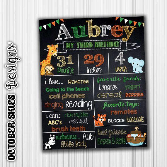 Monkey Birthday Chalkboard / Chalkboard by OctoberSkiesDesigns