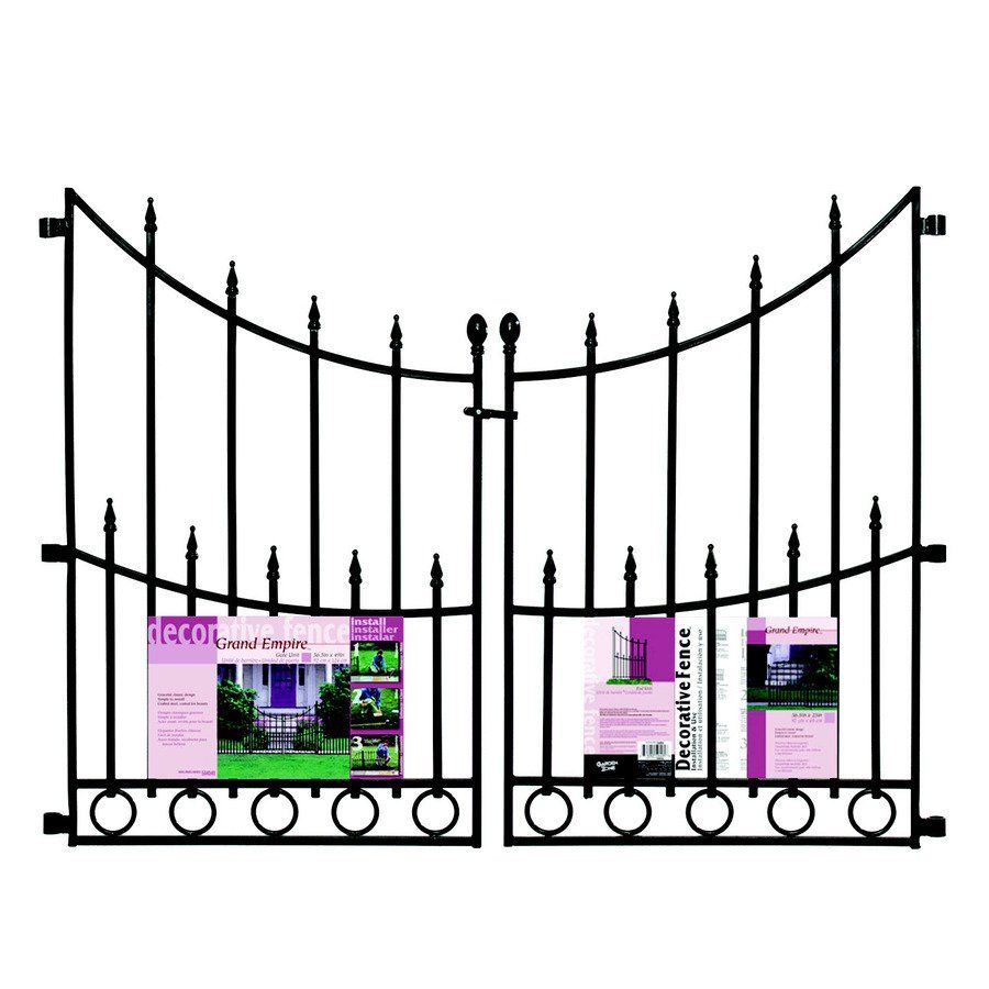 No Dig Grand Empire Black Powder Coated Steel Fence Gate (Common: 25 In