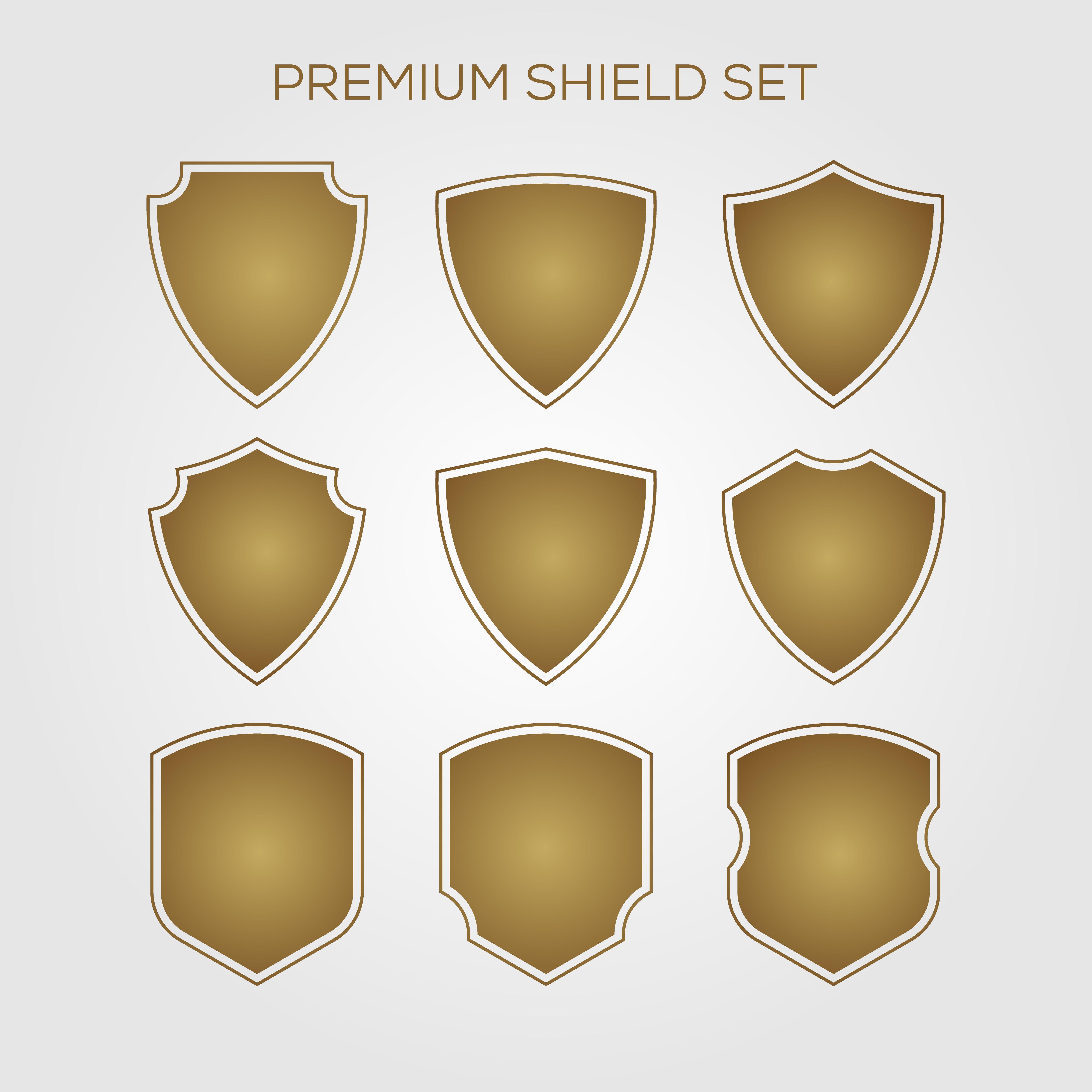 gold, shield, set, geometric, premium, logo, vector, icon
