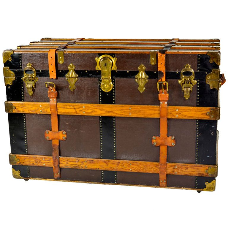 1920's Brass Clad Steamer Trunk