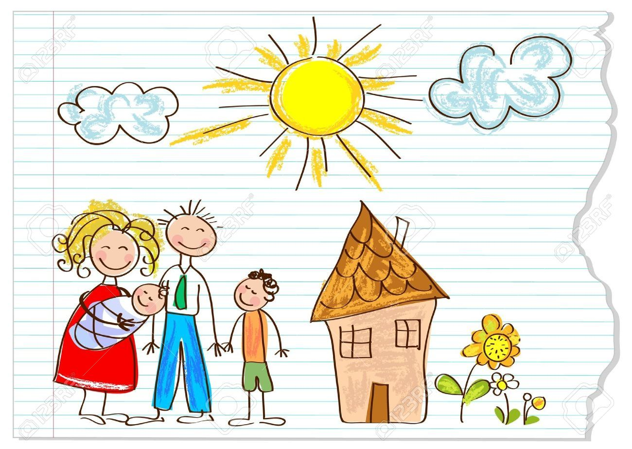 12826217 children drawing happy family on a peace
