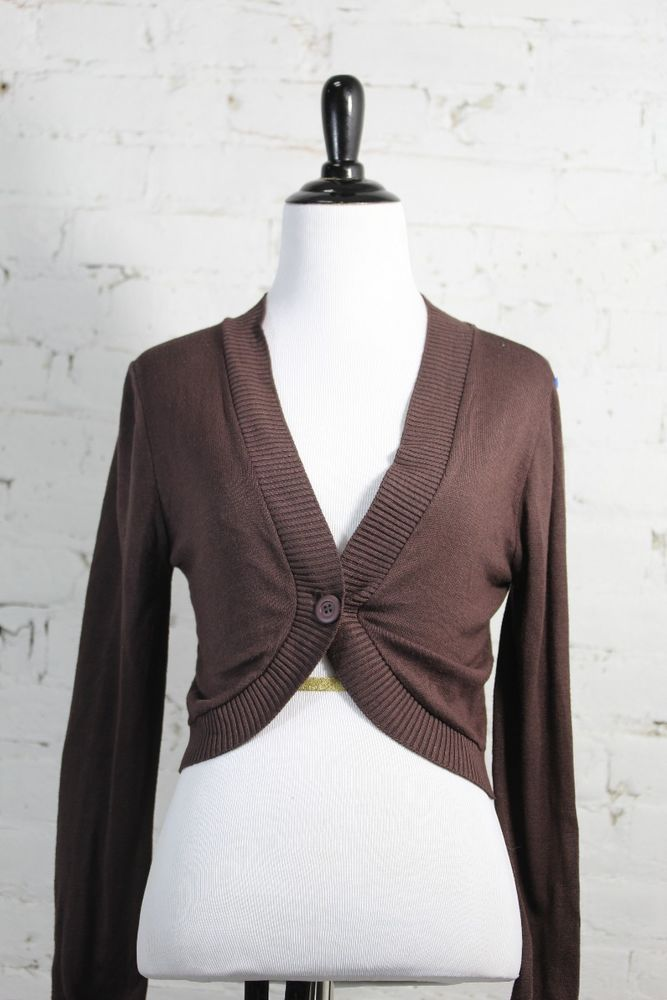 Cotton Emporium Women's Brown Nylon Shrug Bolero Sweater M ...