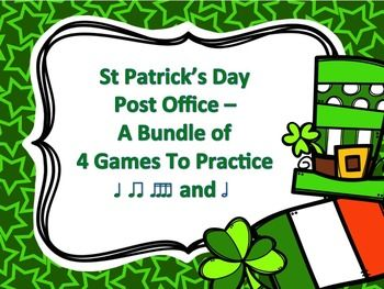 This St Patrick's Day design version of my post office series contains 4 games, each with 12 different rhythm patterns:  Game One - Quarter notes (ta) and paired eighth notes (ti-ti) Game Two - Quarter rest (ta rest) Game Three - Half notes (ta-a) and Game Four - Sixteenth notes (ti-ka-ti-ka)  Students could work in small groups or as individuals.  Could also be used as a rhythmic composition activity.