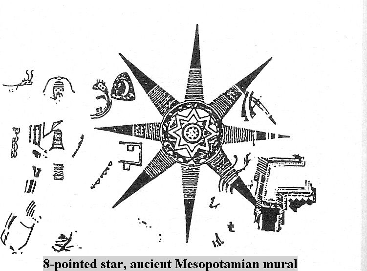 1h Ancient Mesopotamian Mural 8 Pointed Star Symbol Of Anu God
