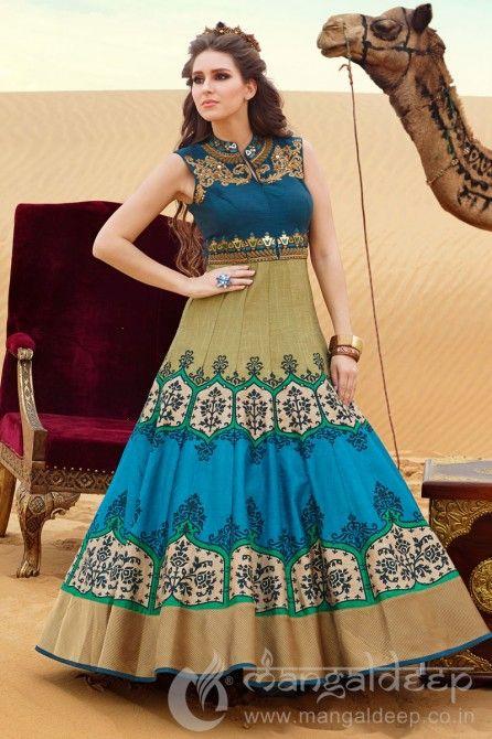 164d723970 Pleasing Multicolor Printed Raw Silk Anarkali #Multicolor, #Printed,  #Anarkali