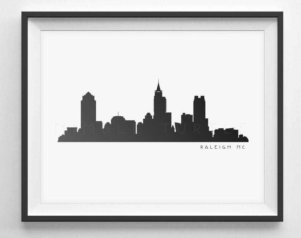 Raleigh Skyline Silhouette Printable Download - Black and ...