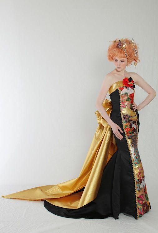 Modern kimono inspired wedding dress by Aliansa Japanese designer ...