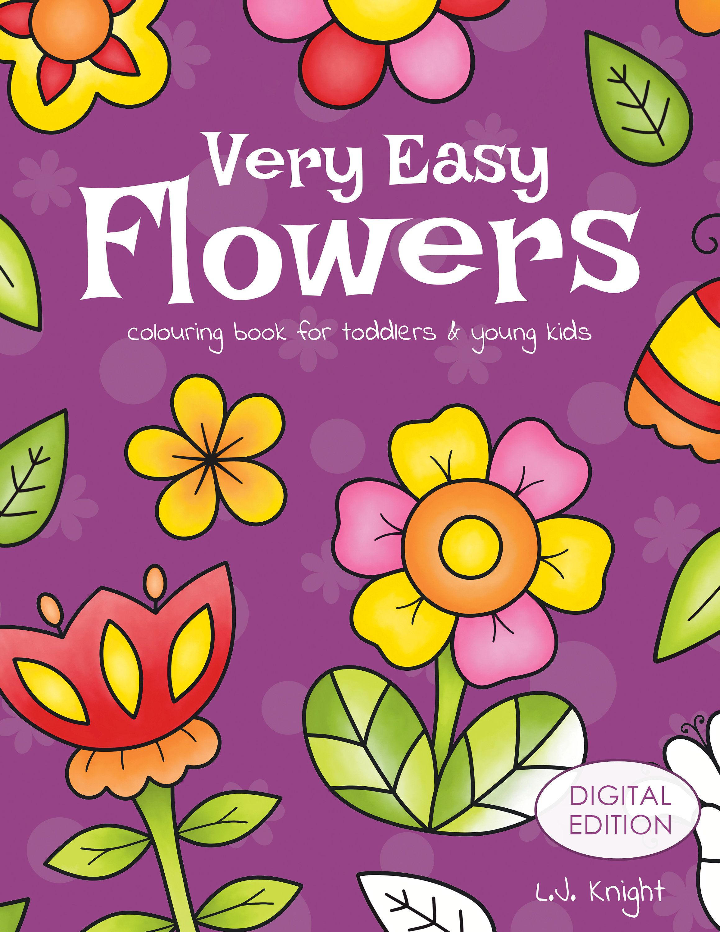 Very Easy Flowers Printable Colouring Book For Toddlers Etsy In 2020 Toddler Coloring Book Toddler Books Coloring Books