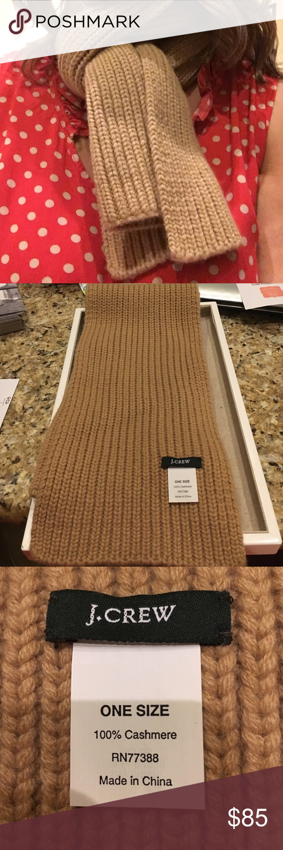"""JCREW Camel 100% Cashmere Chunky Ribbed Knit Scarf Super soft and cozy, 100% cashmere scarf in beautiful camel neutral color.  Perfect for fall.  Worn once, stored in smoke free home.  Length 54"""" width 6"""".  Bundle up! J. Crew Accessories Scarves & Wraps"""