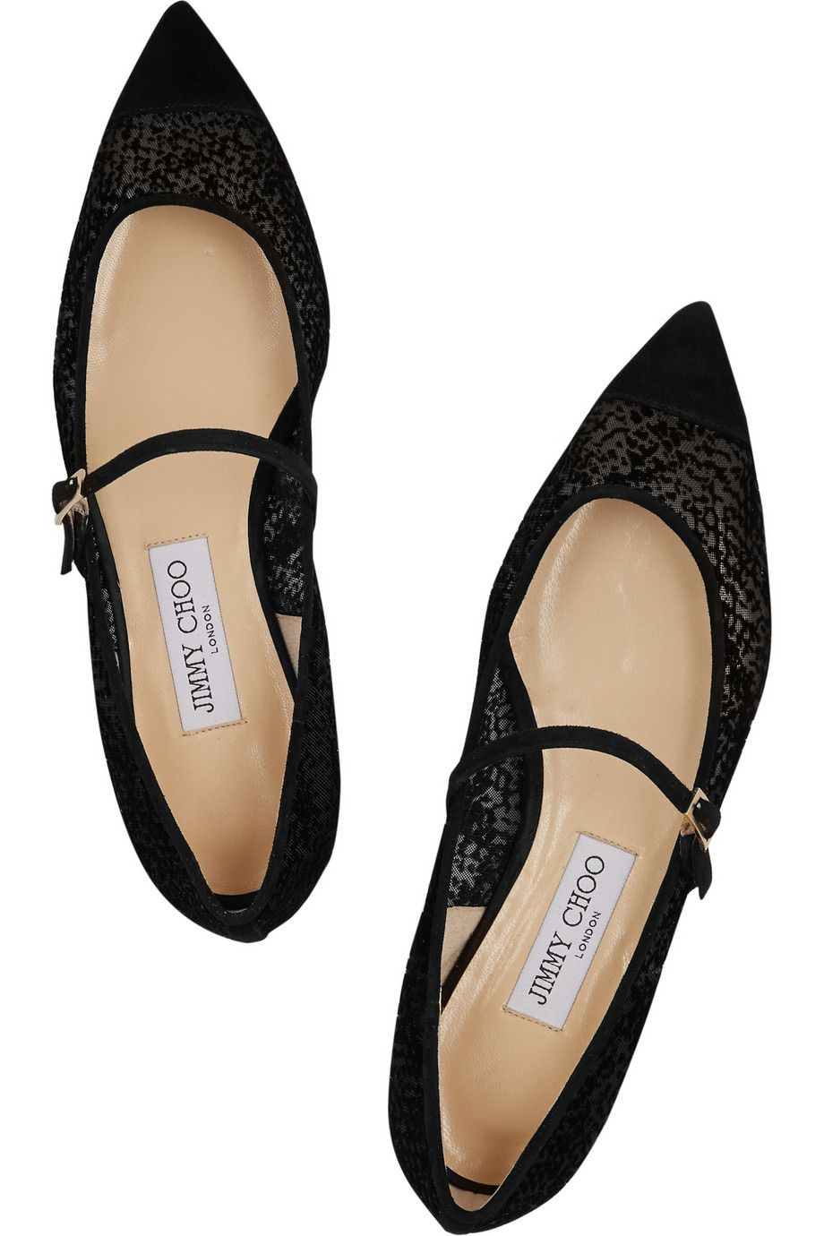 Jimmy Choo|Blanch suede-trimmed flocked mesh point-toe flats|NET-A-PORTER.COM