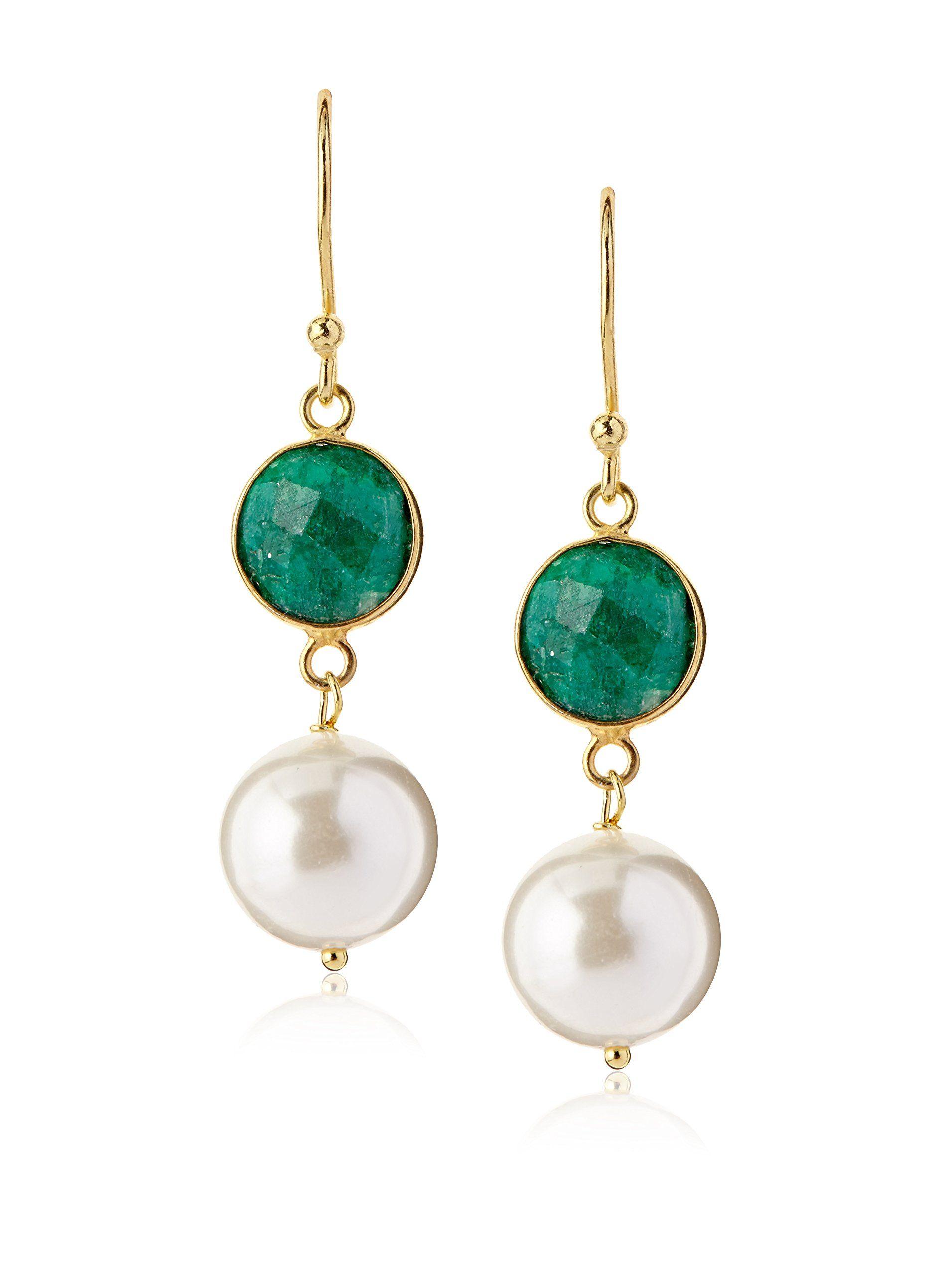 Liv Oliver Emerald Pearl Earrings