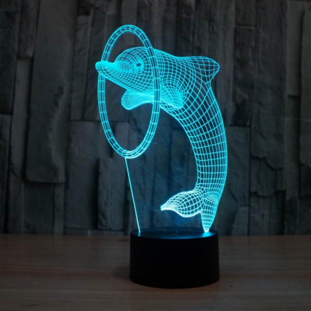 Dolphin 3d Illusion Lamp Led Light Lamp 3d Illusion Lamp 3d Optical Illusions