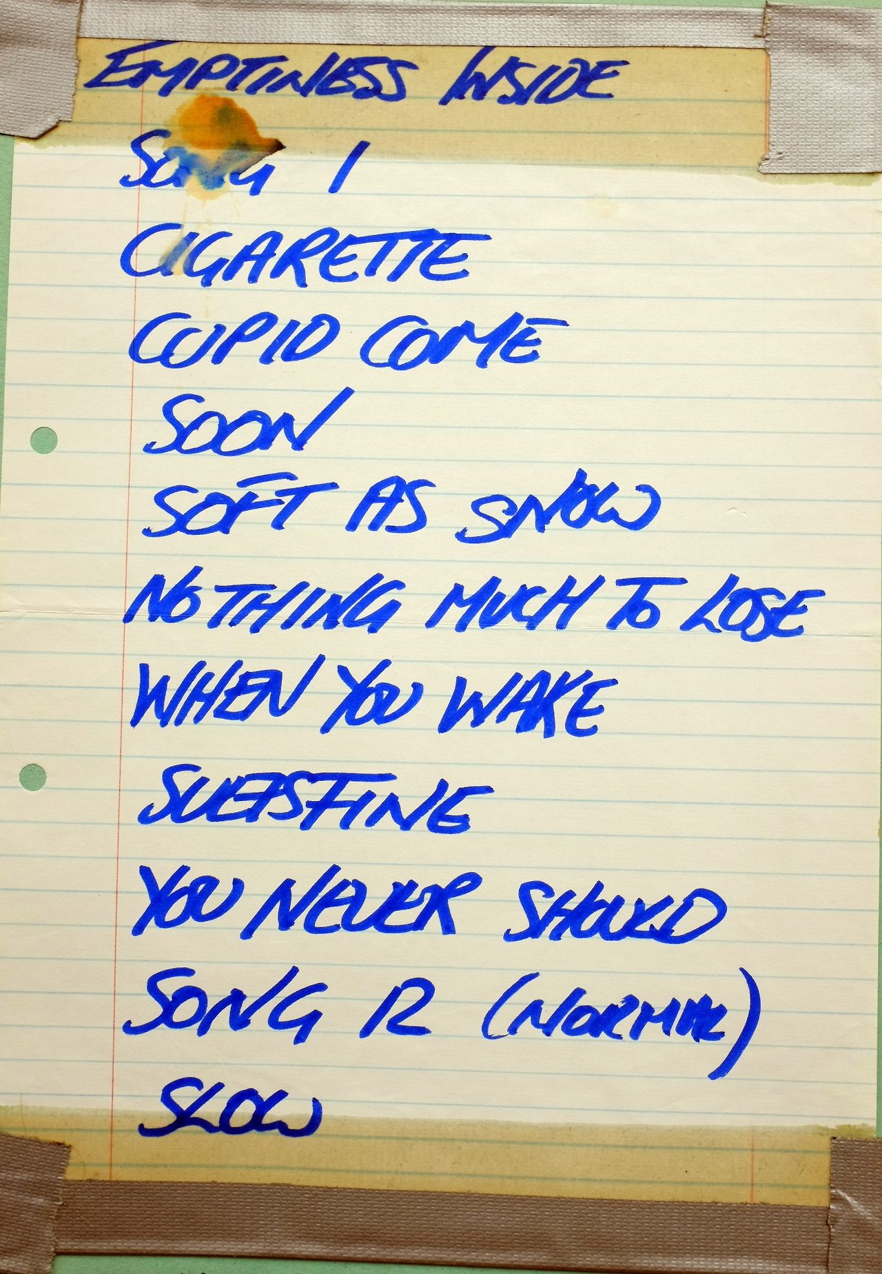 war of nature | My Bloody Valentine set list from Leicester University gig, 1990