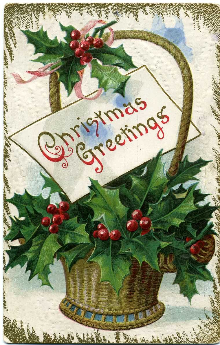 1900 1909 An Embossed Christmas Greeting Postcard Featuring A Floral