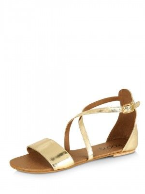 ddeaf2af95b1 Buy KOOVS Cross Strap Flat Sandals Online at Best Price in India is Rs.  795. Gold Flat Sandals For Women. Free Shipping