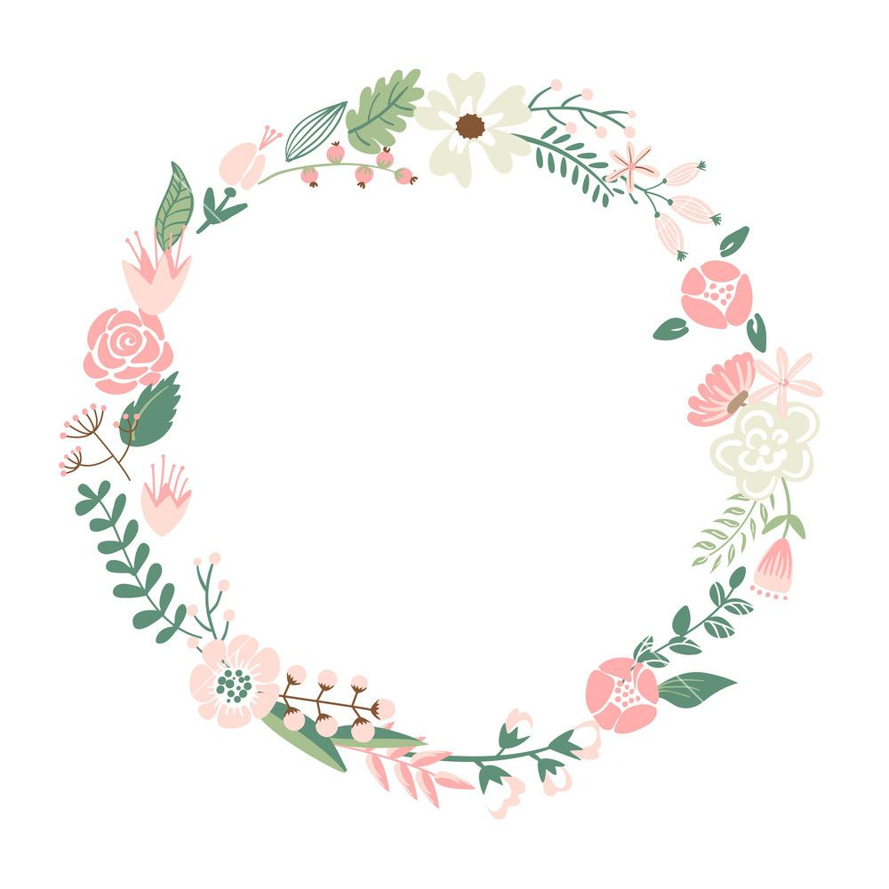 Download Floral Frame. Cute Retro Flowers Arranged Un A ...