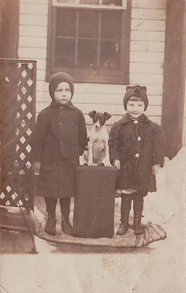 Old Vintage Antique Photograph RPPC Postcard Two Cute Children With Puppy Dog