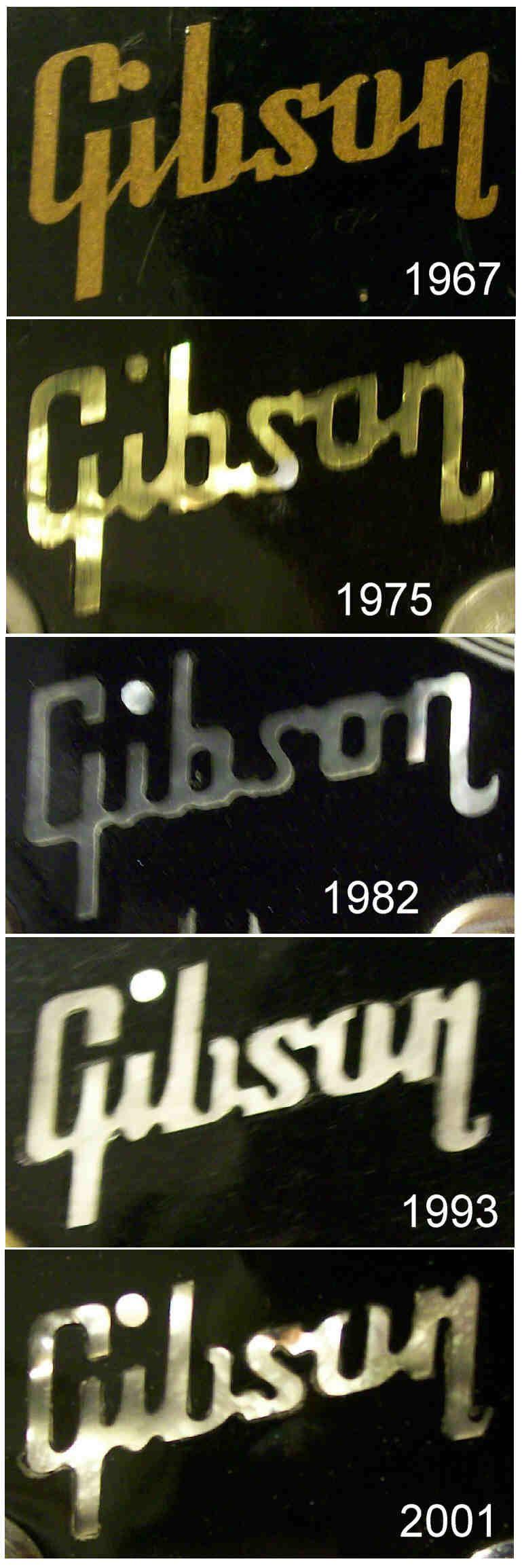 Gibson Headstock Logos : gibson, headstock, logos, Gibson, Headstock, Inlays, Through, Years, Paul,, Guitars,