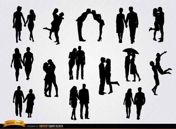 set with 14 silhouettes of couples in love holding hands kissing hugging etc these are perfect silhouettes for any promo related to couples and love