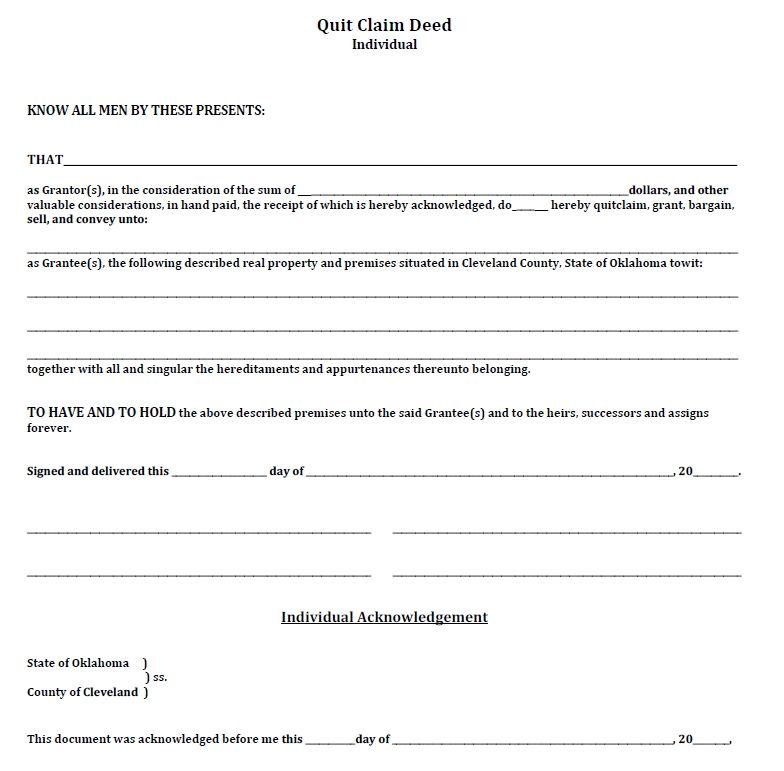 Quit Claim Deed Form Printable Business Template Printables In Writing