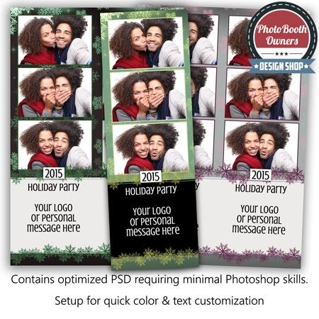 Let It Snow Beautiful 3 Up Strips Photo Booth Template Photo Booth