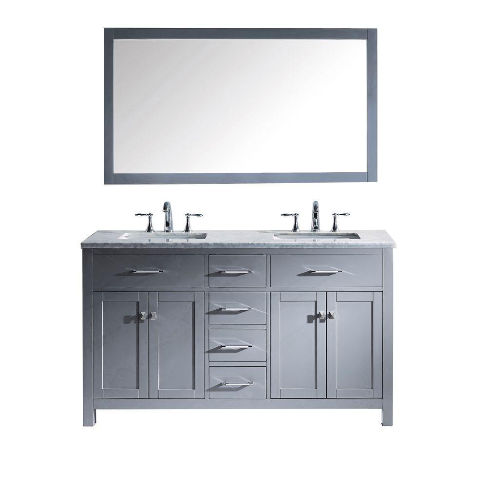 Virtu Usa Caroline 60 In W X 36 In H Vanity with Marble Vanity