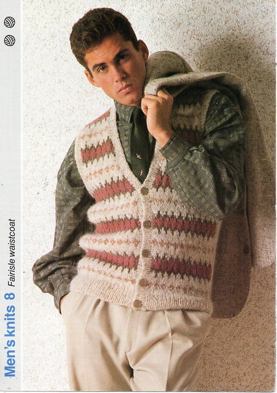 mens fair isle waistcoat knitting pattern PDF mens fairisle vest ...
