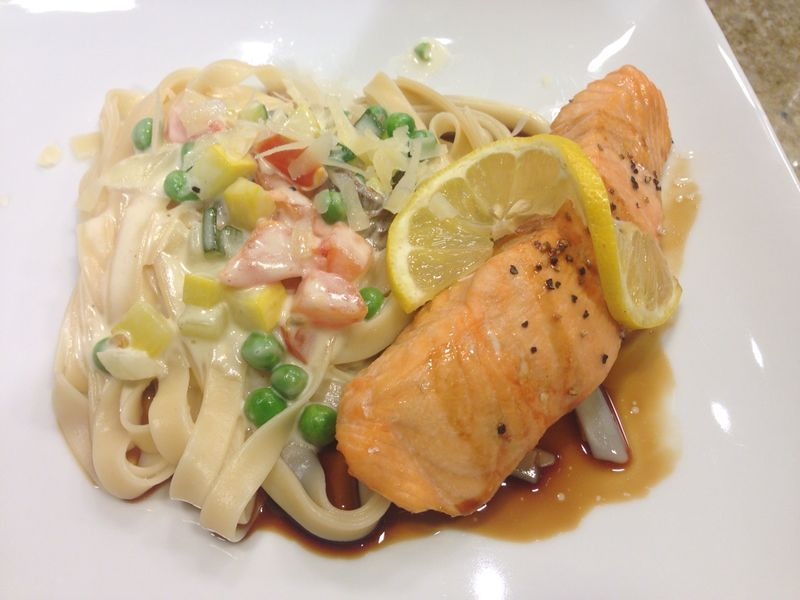 Honey Soy Salmon With Pasta Primavera From Stratford University Honey Soy Salmon Pasta Primavera Pasta