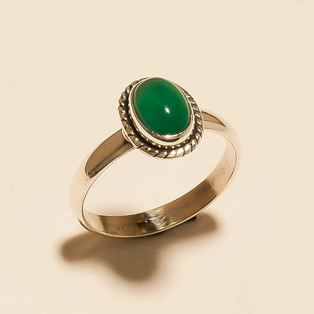 Handmade Silver Jewelry Gift For Her Natural Green Onyx Gemstone 925 Sterling Silver Ring Solitaire Ring Green Onyx Silver Ring