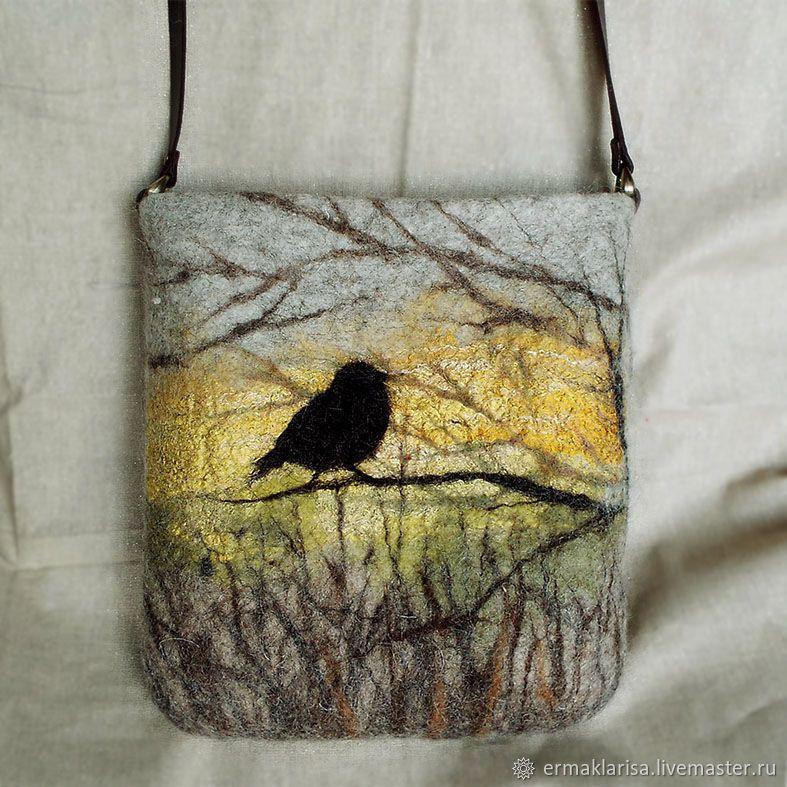 Felt Clutch With Belladonna Flowers Felt bag Handmade Shoulder Bag Felted Clutch Original Gift Idea Summer Theme Wool Bag Nunofelt bag
