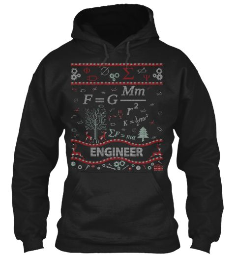 Engineer Ugly Christmas Sweater, Black Hoodie Front