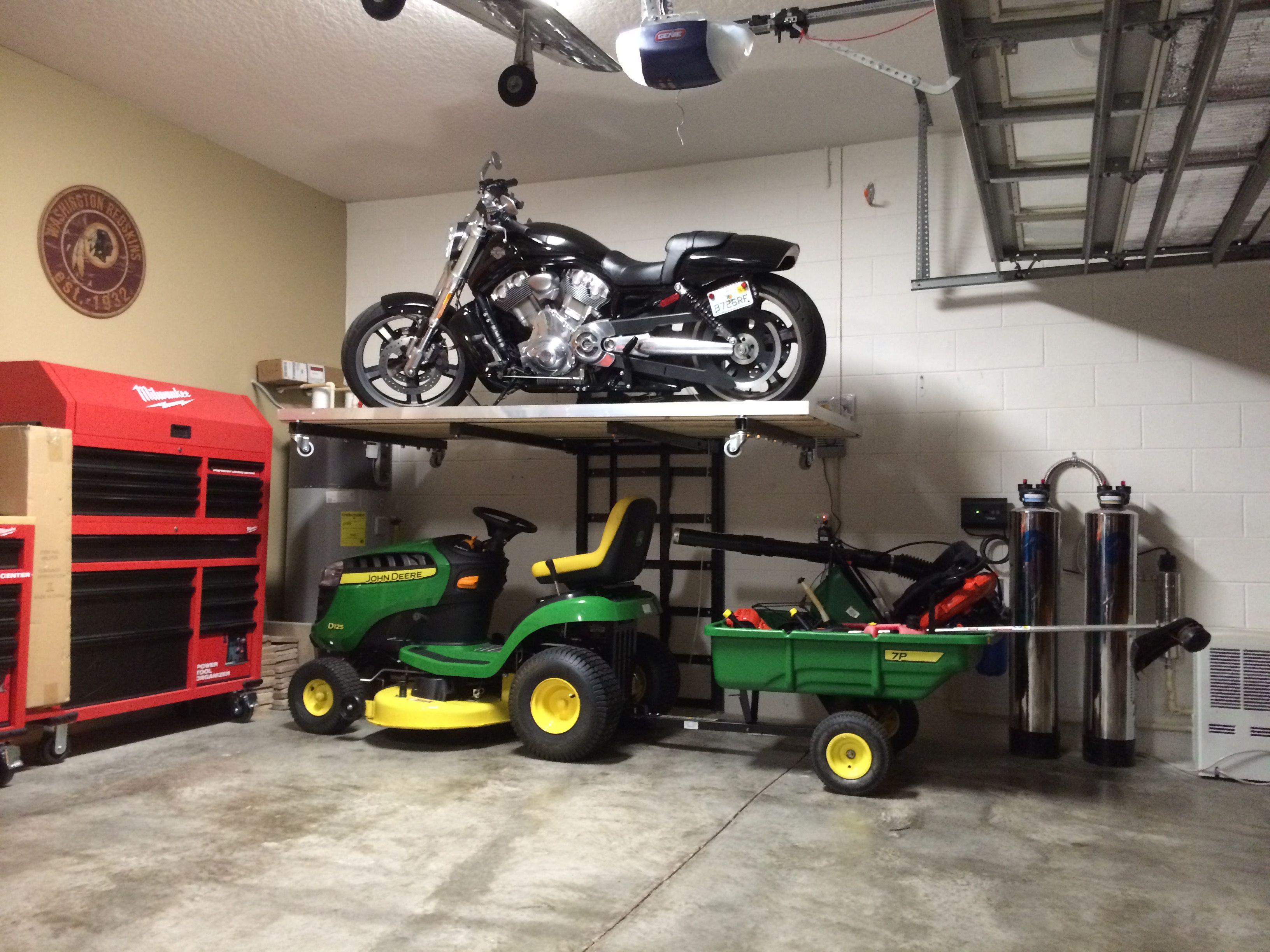 Get Your Car In The Garage Garagestorage Motorcyclelift Storagelift Motorcycle Garagenstauraum Motorradgarage Werkstatt