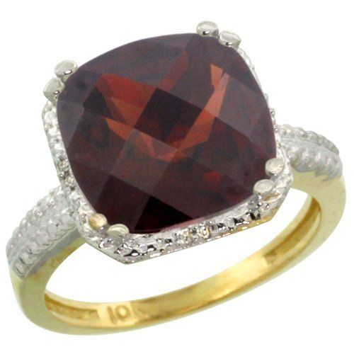 10k Yellow Gold Cushion Cut Garnet Ring 11x11 mm 6 ct Diamond Halo 1/2 inch wide, sizes 5-10, http://www.amazon.com/dp/B00AYN0Y86/ref=cm_sw_r_pi_awdl_7juMsb1MDKJ7F