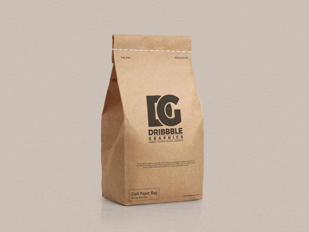 Download Free Stitched Craft Paper Bag Mockup Bag Mockup Paper Bag Design Free Mockup