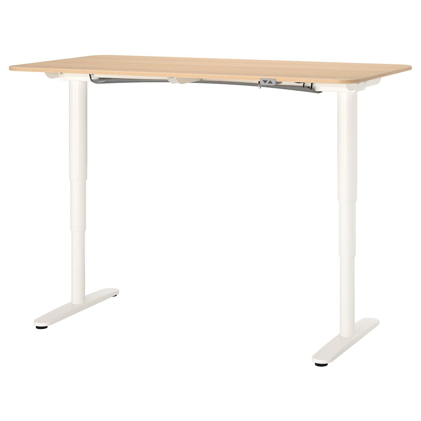 Bekant Desk Sit Stand White Stained Oak Veneer White 63x31 1 2