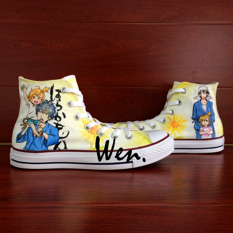 73.60$  Watch now - http://alinwh.worldwells.pw/go.php?t=32559659215 - Wen Hand Painted Anime Shoes Unisex Custom Design Barakamon Men Women's High Top Canvas Casual Shoes Christmas Gifts 73.60$