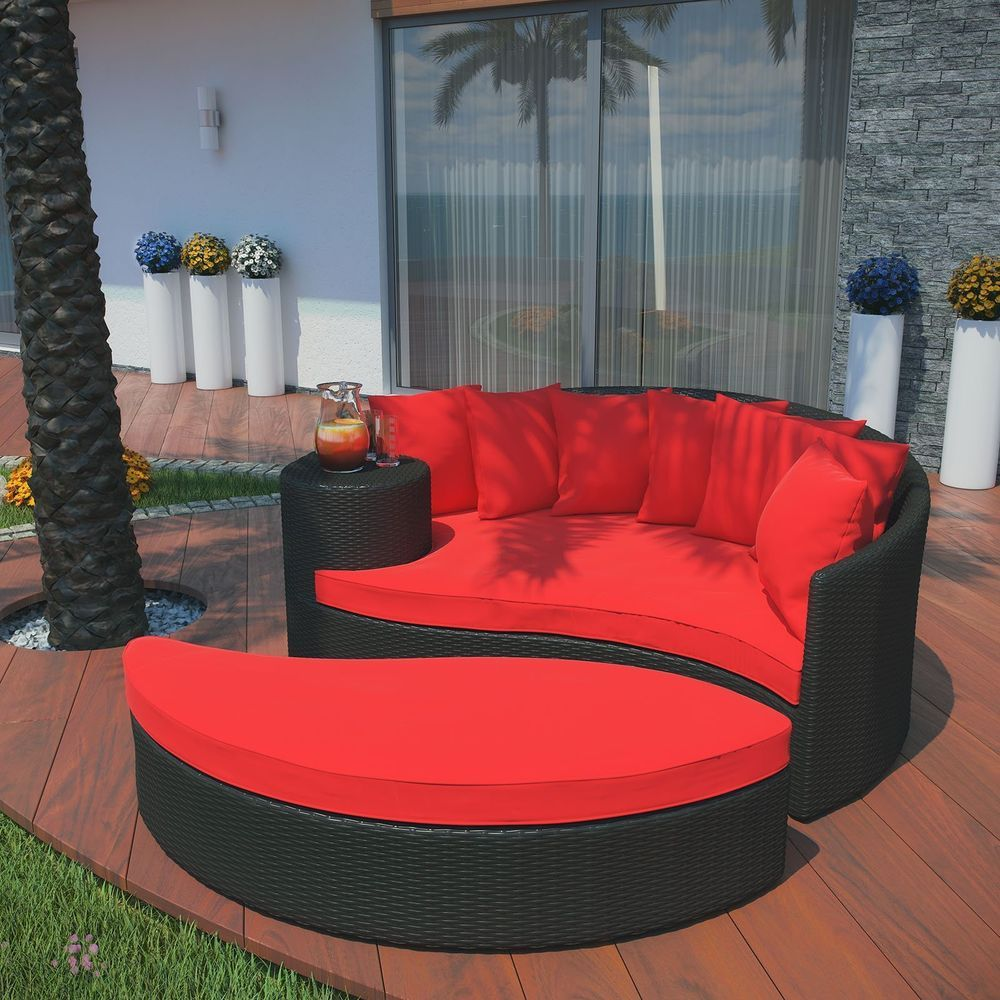 Lexmod Taiji Outdoor Wicker Patio Daybed With Ottoman In Espresso With Red Cushi Set Includes Daybed 1 71 Inch L B Outdoor Daybed Wicker Daybed Daybed Sets