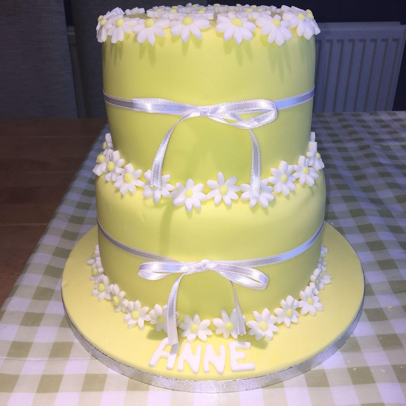Daisy Cake Tiered Cake Ribbon 70th Craftycakes Bakes