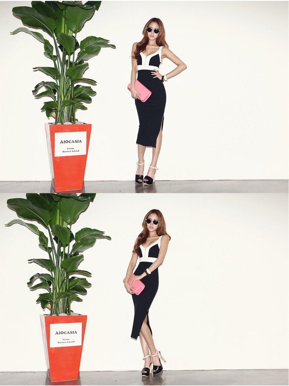 Coloration Zipper Long Dress - DRESSES - CLOTHING - WOMEN | Korean Fashion Online Shopping Mall - KOODING.com