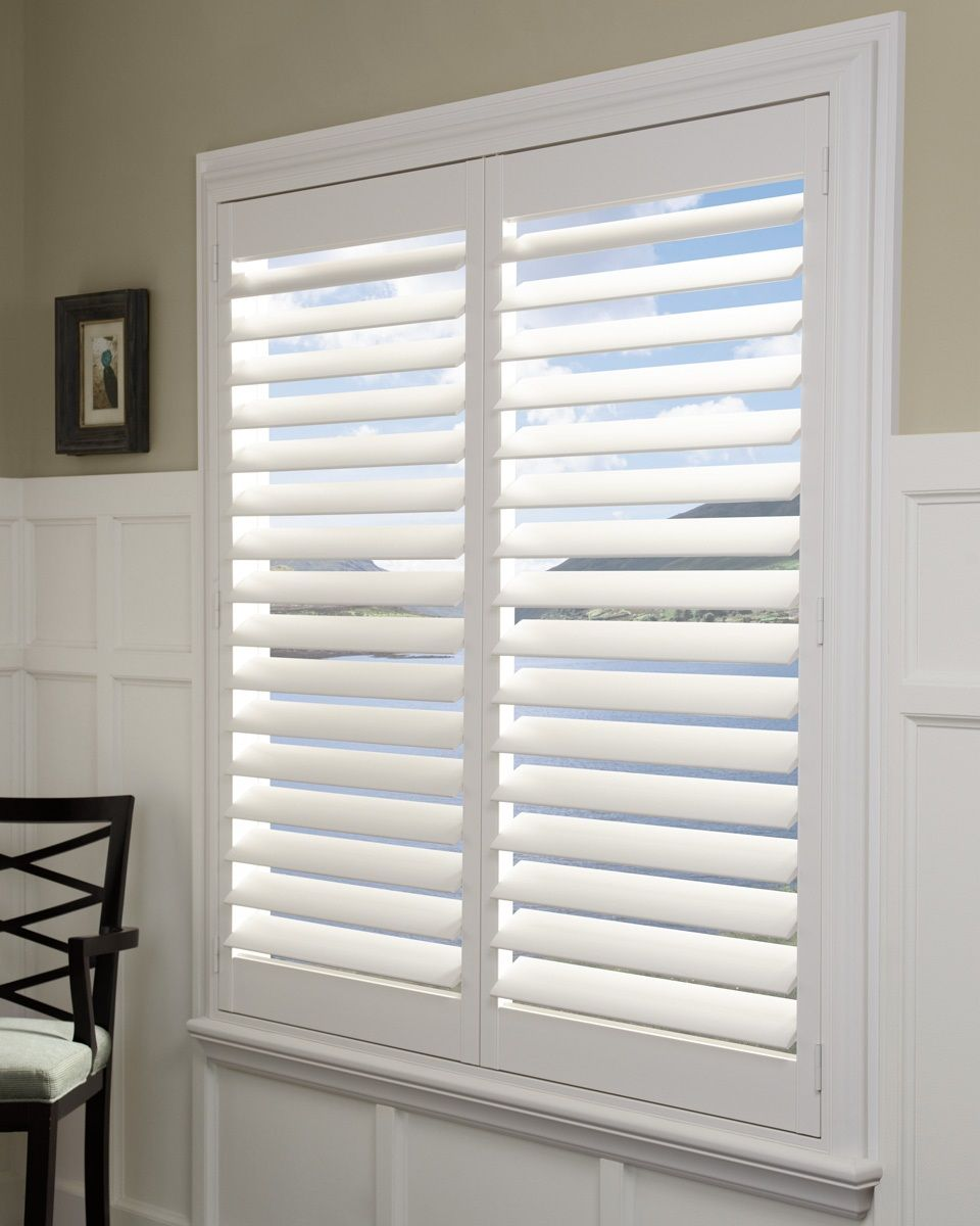 We Carry Several Types Of Shutters From Hardwood Hybrid And Polyvinyl Our Design Specialists Will Guide Yo Living Room Blinds Blinds Hunter Douglas Shutters
