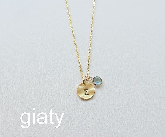 Personalized Necklace Birthstone Necklace Initial by giaty on Etsy