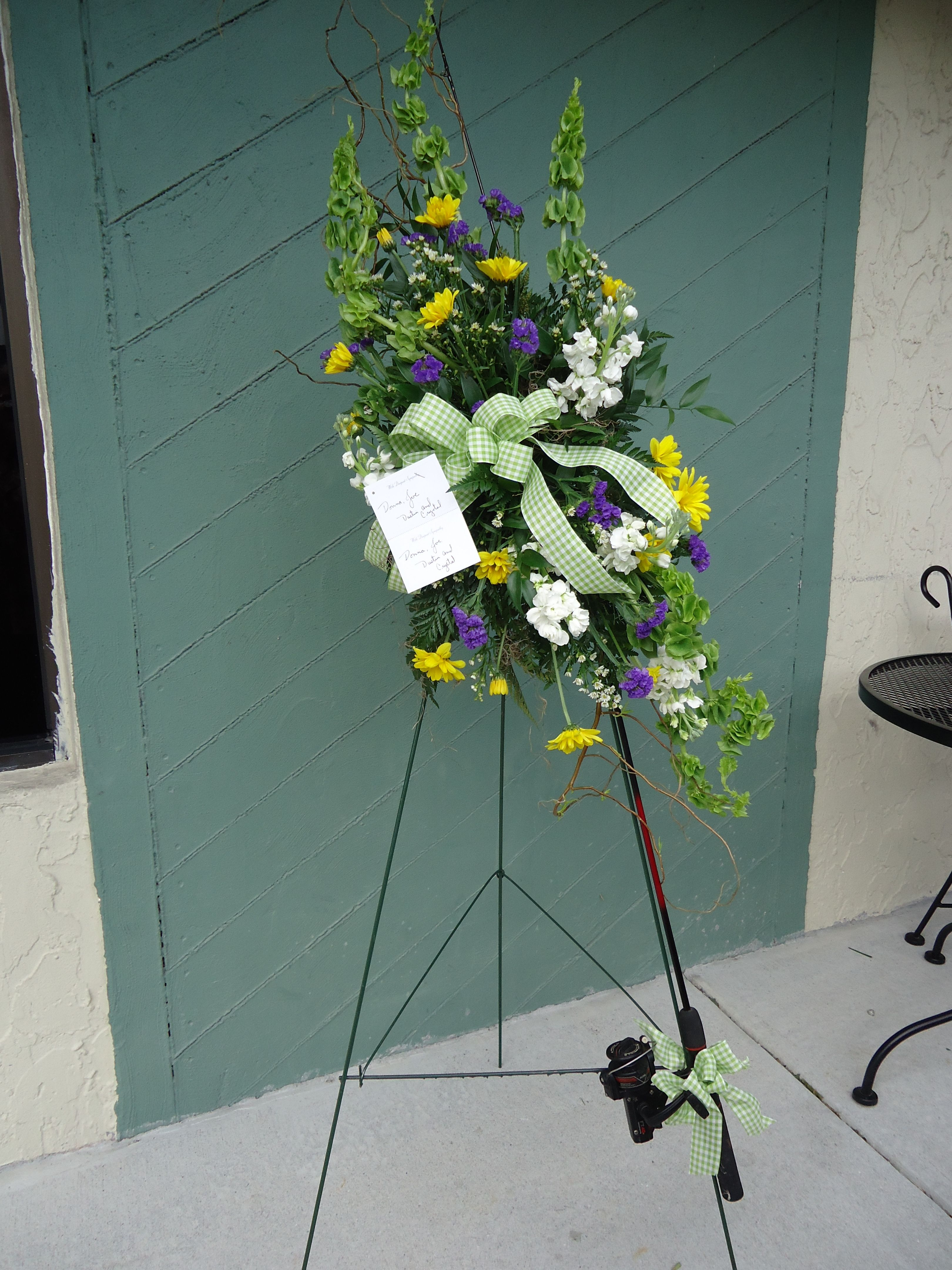 The Old Fishing Hole Standing Spray W Fishing Rod Angel Blooms
