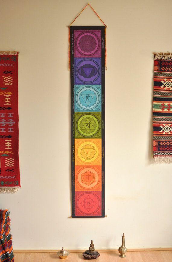 Chakra banner - Chakra wall hanging - handmade - yoga - Chakra flags - decoracion zen