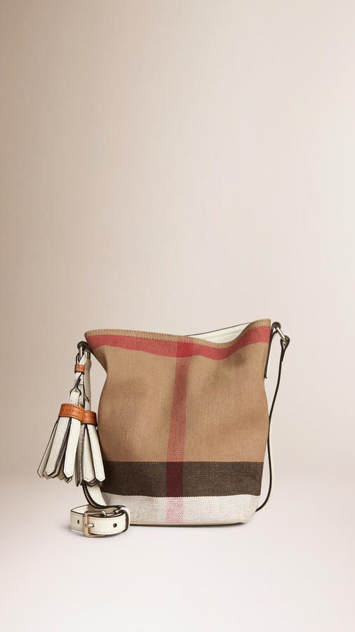 c8375295e66 Burberry The Small Ashby In Canvas Check And Leather Tote Bag, Canvas,  Purses,
