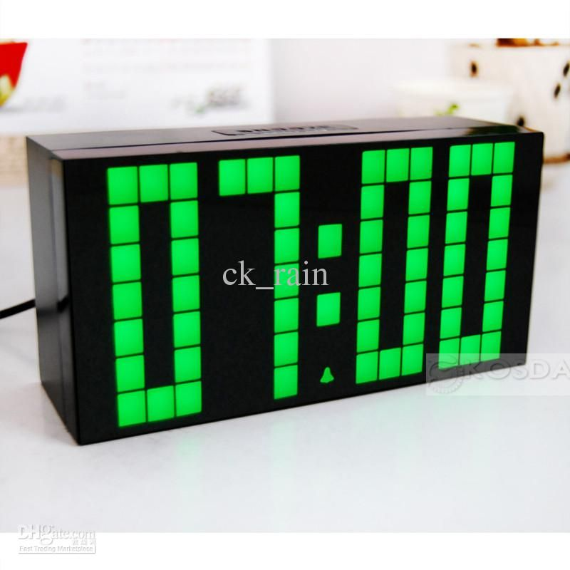 Large Jumbo LED Clock Display Wall Digital Green Lighter Timer
