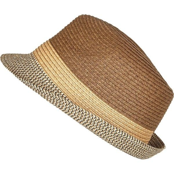 64e0c868f6340 River Island Brown straw trilby hat ( 23) ❤ liked on Polyvore featuring  men s fashion