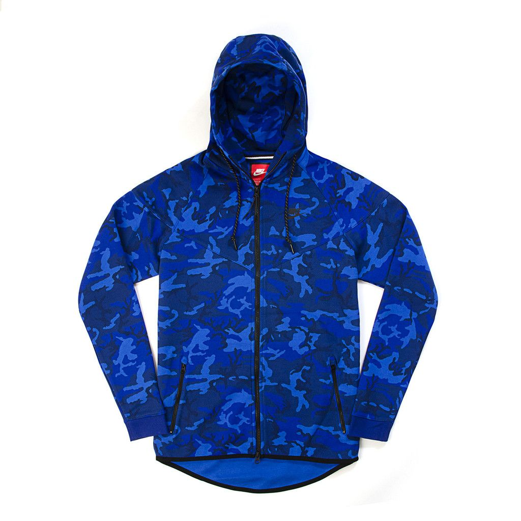 aef8c1b1a43a Nike Tech Fleece Windrunner Camo Game Royal Deep Royal Blue Black.  Available at Concrete Store Amsterdam