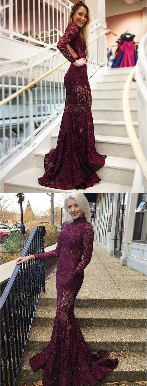 Mermaid high neck backless long sleeves burgundy lace prom dress