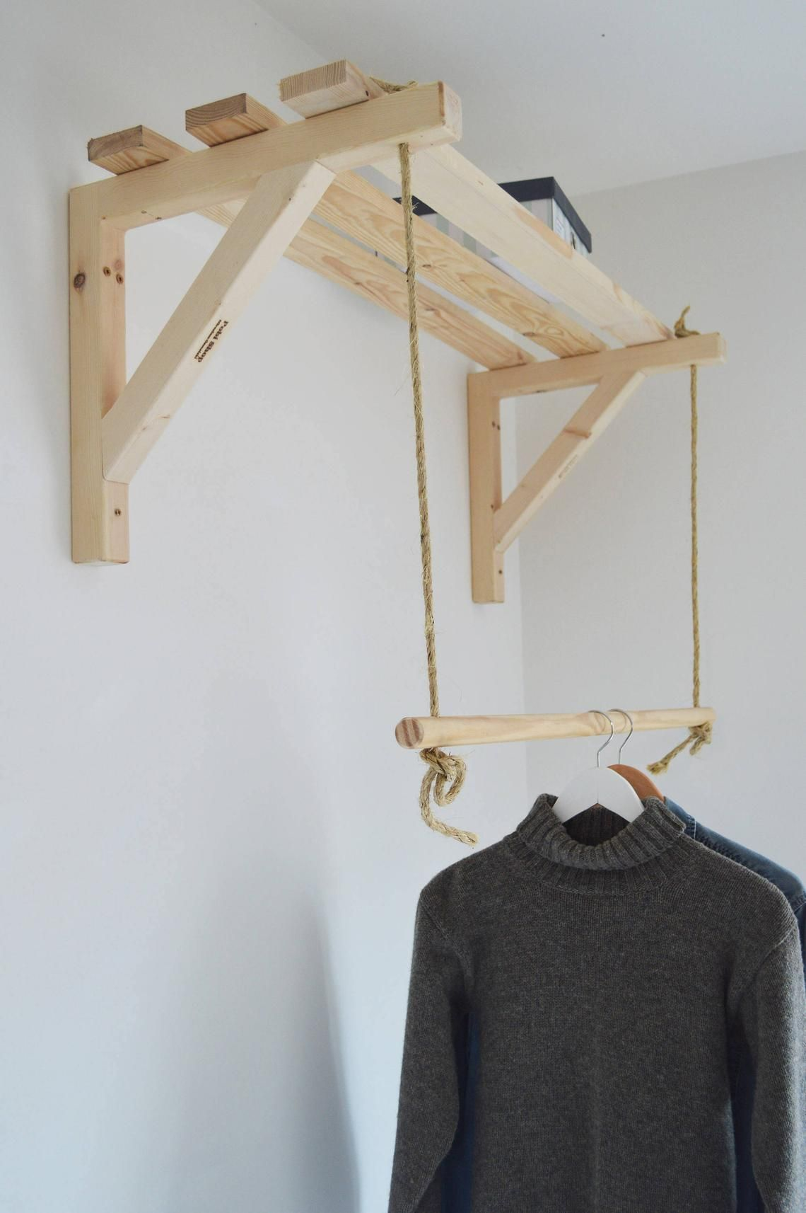 Hanging Pair Of Shelf Brackets Massive Handmade Etsy Clothes Rail Clothing Rack Wood Clothes