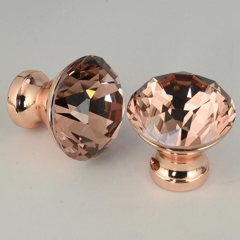 Chaumont // Pack of 2 Rose Gold Crystal Glass Diamond Knobs - Hardware for Cabinets and Drawers - Width: 30 mm, 1 3/16